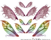 MAGIC Fairy Wings in 3 sizes - Digital Collage Sheet (No 079)