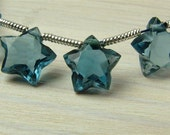 London Blue Topaz Star Briolettes, AAA, Faceted, 10mm - PAIR (ET584)