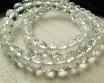"""White Topaz Rondelles, AAA, Faceted, 3-4.5mm - 8.25"""" Strand (CG2239a)"""