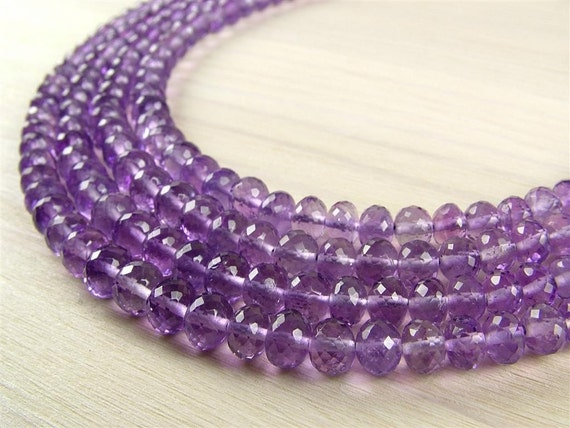 Amethyst Rondelles, AA-AAA, Faceted, 3-5.5mm - 8 Inch Strand (ET273)