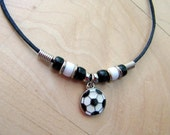 Personalized Soccer Ball Charm Necklace for Boys and Girls - Soccer Ball Charm in Black and White - Customize with Choice of Colored Beads