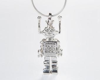 Silver Robot Pendant Charm, Little Robot Pendant Silver Necklace