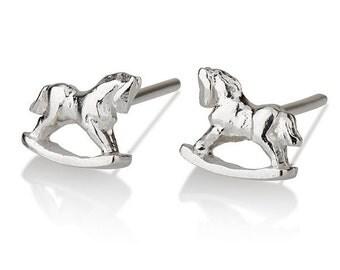 Rocking horse stud silver earrings, Rocking Horse Earrings, carousel Earrings, modern Earrings, Cute earrings