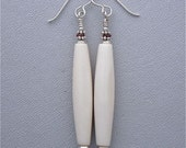 Earrings of White Hair Pipe Beads and Silver