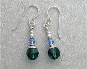 Swarovski Crystal Victorian Style Earrings Emerald Green and Light Sapphire. With Sterling Silver
