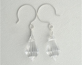 Facetted Preciosa Crystal Crystal Wedding Earrings with French Hoop Hooks