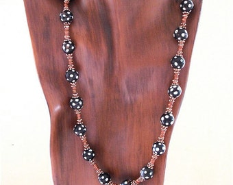 African Trade Bead Necklace Black and White Skunk Beads