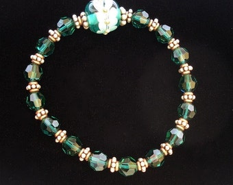 Bracelet, Emerald Crystal and Lampwork by KD-W