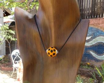 Orange Tangerine Lamp Work Bead with Black Dots by KateDW