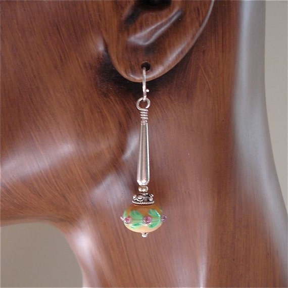Lampwork Glass Bead Earrings with Long Silver Findings