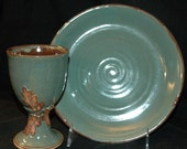 Custom Set Reserved for Jodie Hurley Handmade Pottery Communion Set, Wheel Thrown Stoneware Chalice and Paten
