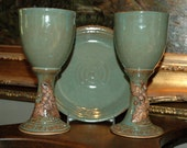Three Piece Pottery Communion Set, Stoneware Chalice Pair and Paten with Oak Leaves