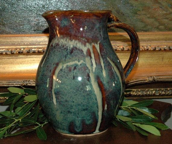Pottery Pitcher, Wheel Thrown Stoneware Ewer/Carafe