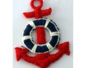2 1960's Machine Embroidery Red Anchors with Blue and White Life Preservers