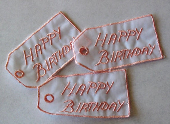 2 Voile Embroidery Trim Pink Happy Birthday Tags