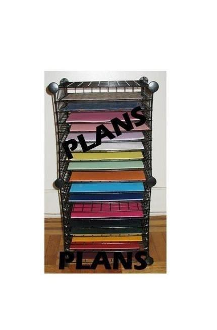 12x12 scrapbook paper organizer rack storage plans by thehobbyhub. Black Bedroom Furniture Sets. Home Design Ideas