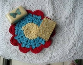 Crochet  Wash Cloth - Cotton Yarn - Yellow, Blue and Red