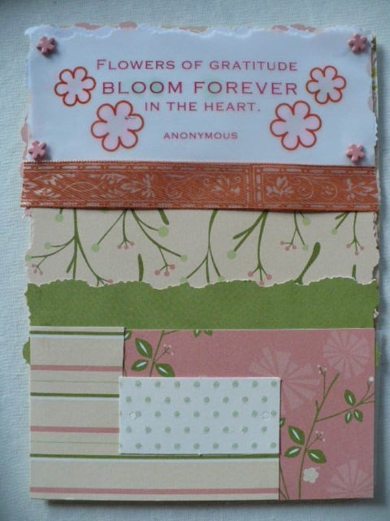 Log Cabin Quilt Greeting Card Peaches and Greens