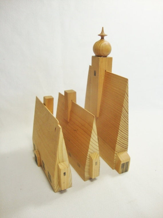 vintage wood block houses and church