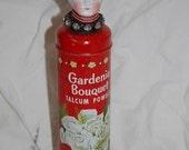 Vintage German Bisque Dollhead on Gardenia Bouquet Vintage Talc Tin
