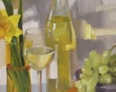 """Wine art painting """"A glass of Riesling"""" original oil by Sarah Sedwick 6 x 8 in"""