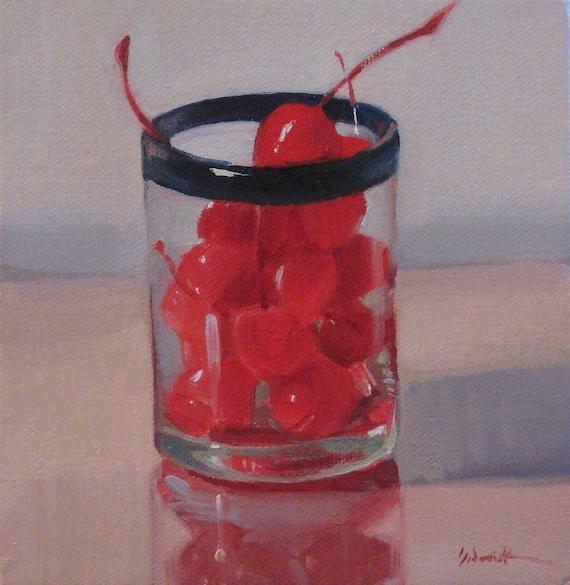 "Kitchen Bar Decor Food Fruit Art Original Oil Painting SALE ""Cocktail Cherries"" by Sarah Sedwick 6x6in"