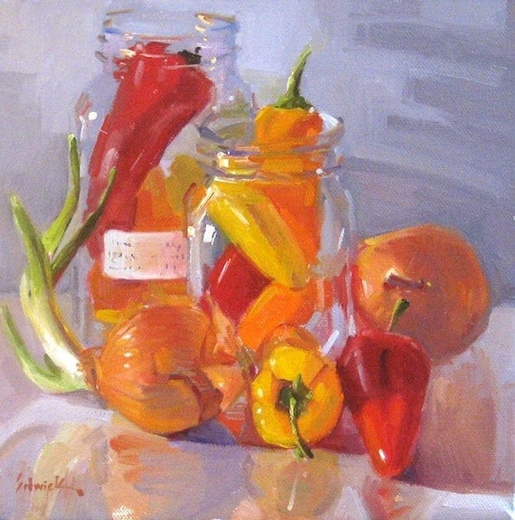 """Kitchen decor art painting """"Peppers and Onions"""" by Sarah Sedwick 8x8in"""