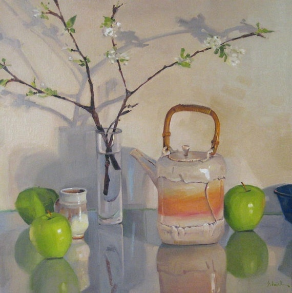 """Large painting wall art """"Branching Shadows"""" - original oil by Sarah Sedwick 16x16 inches"""