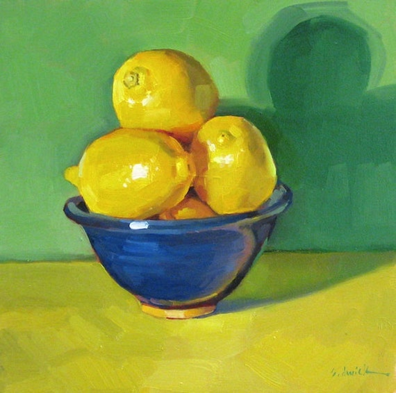 """Wall art oil painting """"Blue Bowl of Lemons"""" original kitchen decor by Sarah Sedwick 6x6in"""