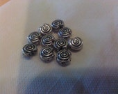 10 Silver plated spacer beads