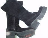 Vintage Black Suede Boots, Size 6, Chunky Boots, Goth Club Boots, Cosplay Boots, Frankenstein Boots