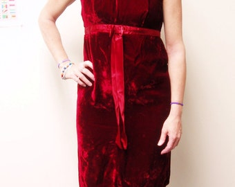 Vintage Velvet Dress, Vintage 1960s Dress with Bow, Vintage Valentine's Day and Holiday Dress, Gorgeous Deep Red, Size Extra Small to Small
