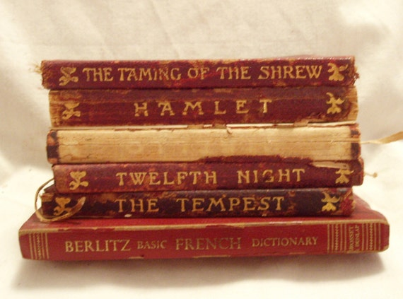 Vintage Shakespeare Books, Miniature Books, The Temple Shakespeare and Berlitz French Dictionary