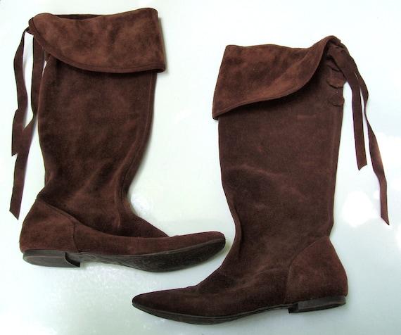 Vintage Brown Boots, Boho Elf Ren Faire Suede Fold Down Boots