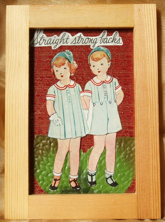 Original Mixed Media Collage in Frame -- Straight Strong Backs