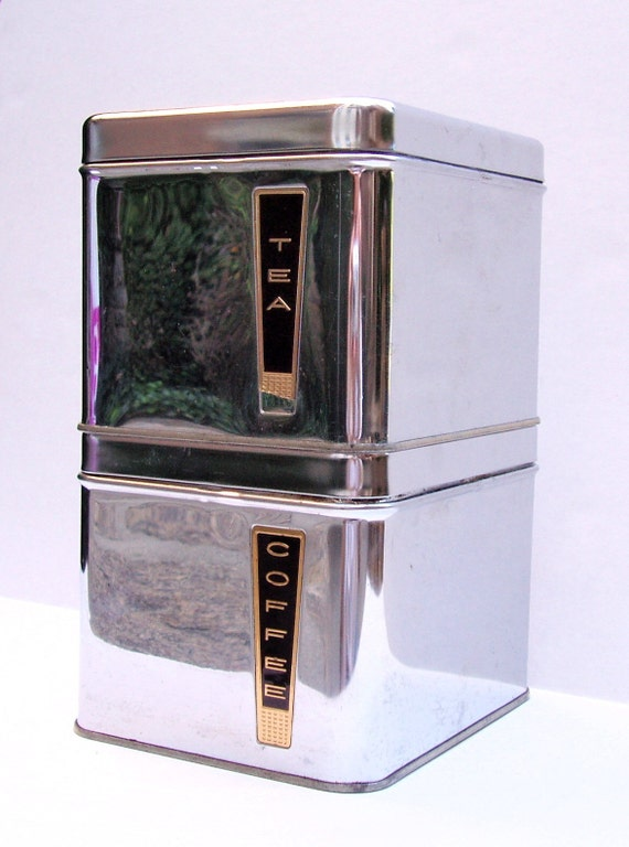 Vintage Square Metal Coffee And Tea Canisters Lincoln