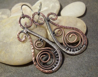 50% off Tutorial Sale-Tutorial for Rustic Swirled Paisley Earrings.