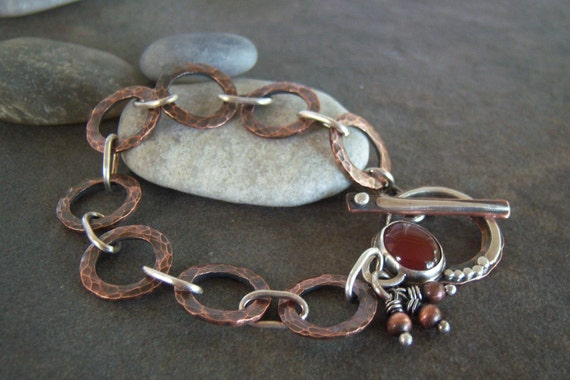 Rustic-Mixed Metals-Copper-Sterling Silver-Carnelian-Gemstone-Bracelet-Sale-Free Shipping.