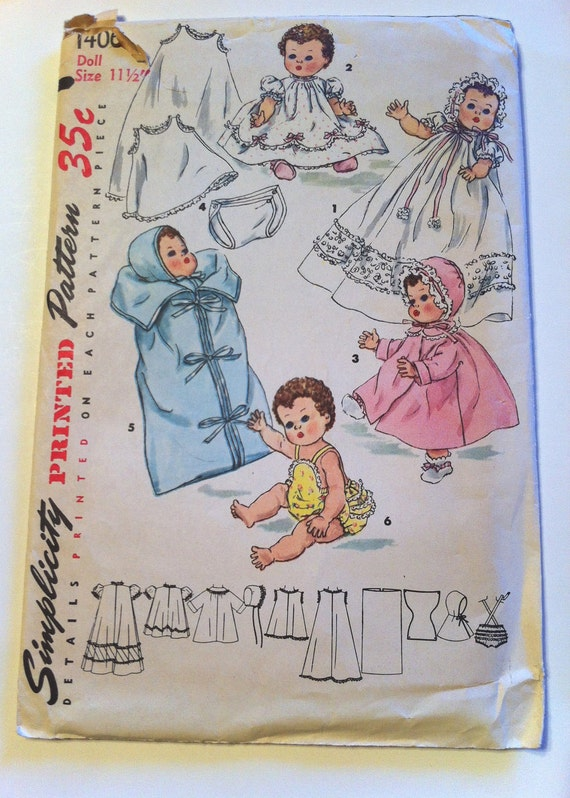 Vintage 1955 Simplicity Pattern Number 1406 Layette For Betsy Wetsy And Tiny Tears Dolls