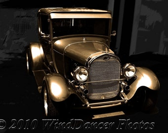 1929 Gold, Classic Car, Fine Art Photo, Old Car Photo, Ford Model A, Black & Gold, Americana, Retro, Home or Office Art, Old Model A,