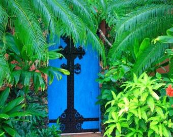 Enter the Tropics - Fine Art Photo- Tropical - Gate - Blue Gate - Tropical Photo - Home Decor - Hawaii - Wall Art - Ornamental Gate - Island