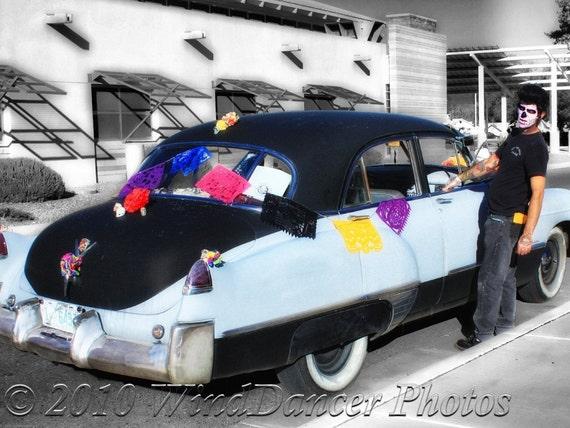 He Rides in His Old Cadillac - Dia de Los Muertos Fine Art Photo - Classic Car Photo - Car Art - Day of the Dead