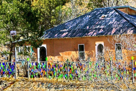 tin roof bottle fence fine art photograph southwest new mexico southwest photo: new mexico home decor