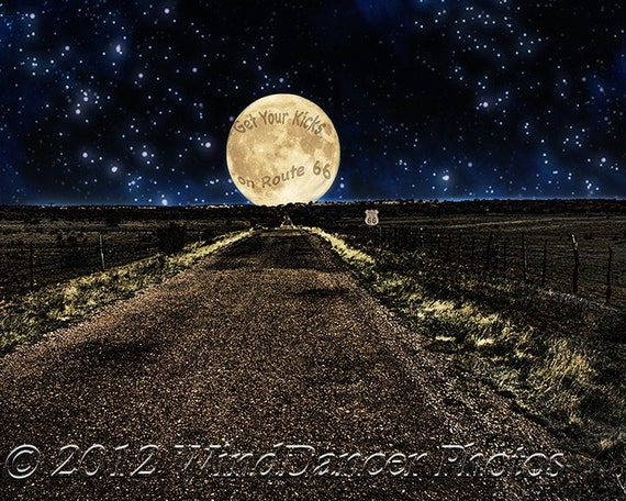 Route 66 Big Moon - 8 x 10 Fine Art Photo - Home Decor - Pop Art - Kitsch - Route 66 Photo - Southwest - Wall Art - Metallic - Super Moon