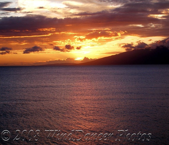 Sunset Fire - 13 x 19 Fine Art Photograph - Hawaii - Maui Sunset - Beach Sunset - Maui Photo - Home Decor - Office Decor