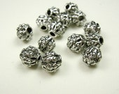 Luxury Antique Silver Plated Bead, 8mm. Pkg of 20