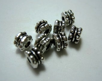 Rondelles, Silver Plated Metal bead, Antique Silver Spacers, 5x3mm. Pkg of 50... S006 -