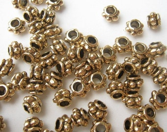 Antique Gold Plated Rimmed Spacer Bead, 6x4mm. Pkg of50... Wholesale level price
