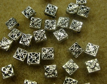 Antique Silver Plated Square Diamond Bead, 5mm.  4 inch strand