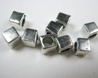 Silver Metal 3mm Square Bead . Pkg of 20